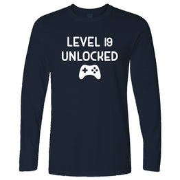 19th Birthday Gamer Long Sleeve Level 19 Unlocked Slogan