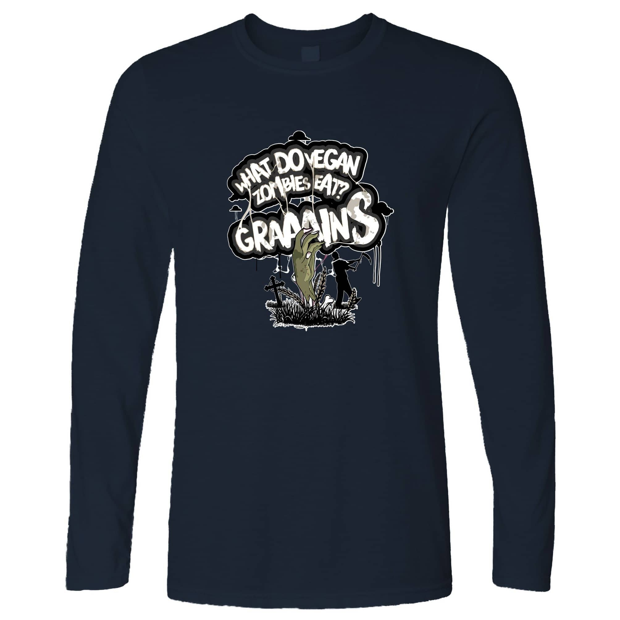 Novelty Long Sleeve What Do Vegan Zombies Eat? Grains! T-Shirt