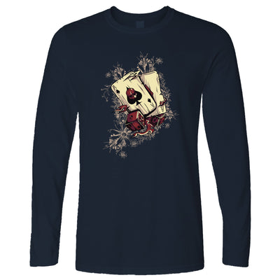 Gambling Art Long Sleeve Cards And Dice Graphic T-Shirt