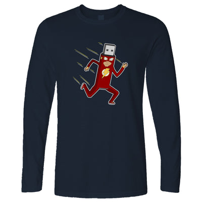 Novelty Superhero Long Sleeve The Fastest Flash Drive T-Shirt