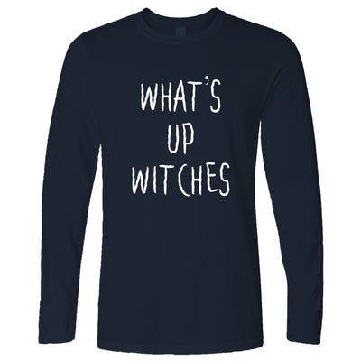 Novelty Halloween Long Sleeve What's Up Witches Pun T-Shirt