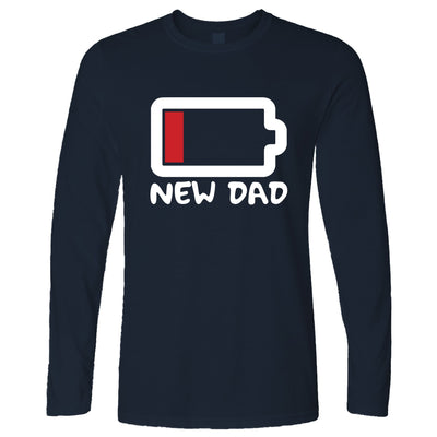 New Dad Long Sleeve Low Battery Remaining Novelty Joke T-Shirt