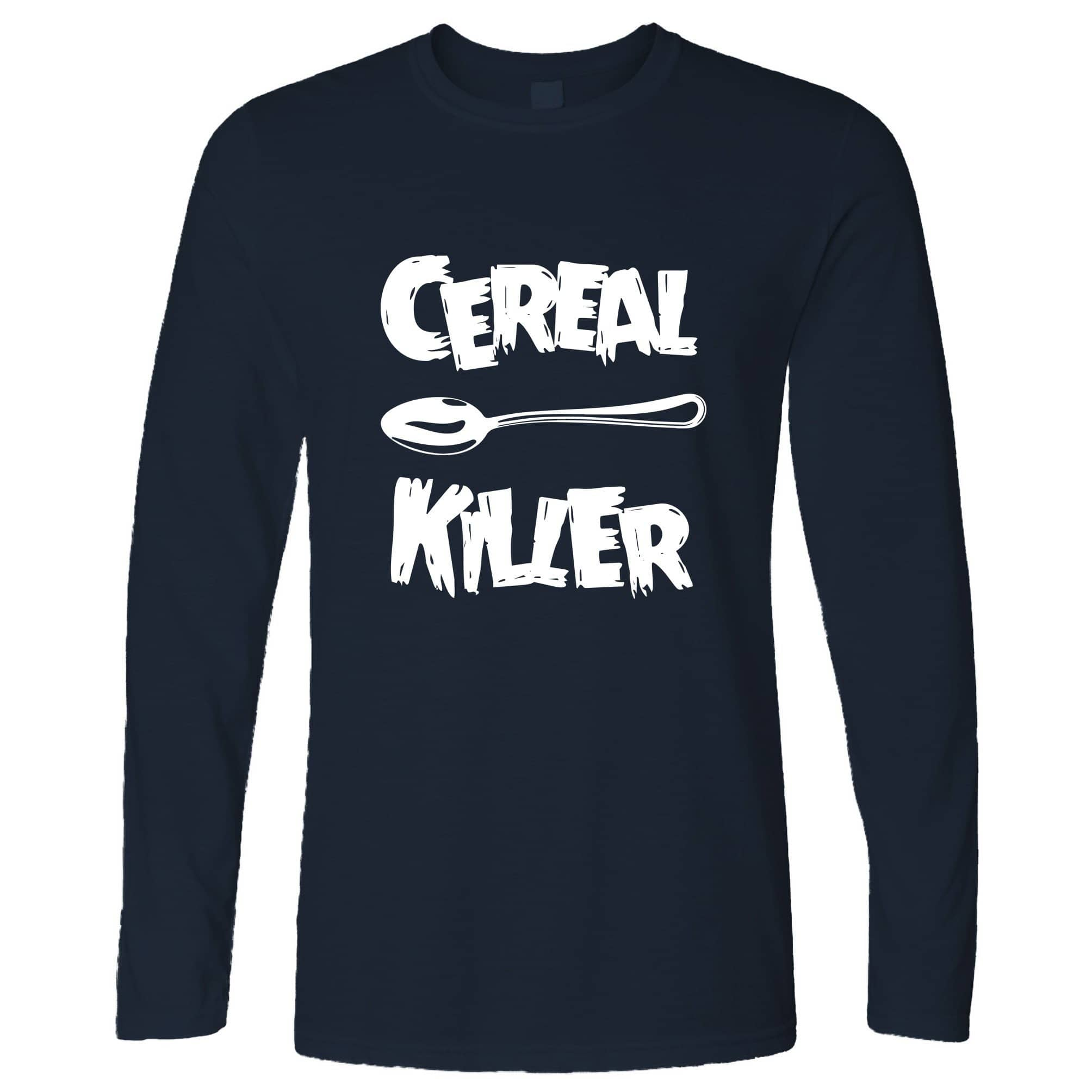 Novelty Breakfast Long Sleeve Spoon Cereal Killer Joke T-Shirt