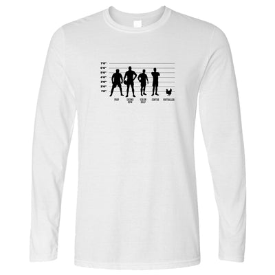 Joke Sports Long Sleeve Rugby Vs Football Chicken Lineup T-Shirt