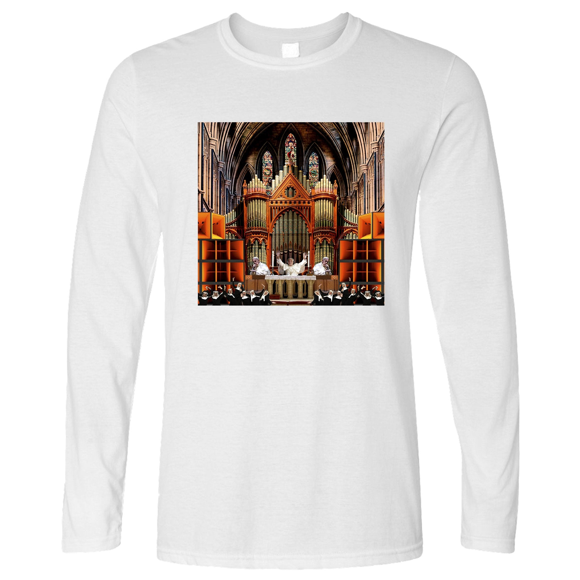 Rave Long Sleeve Nun And Bass Party Collage T-Shirt