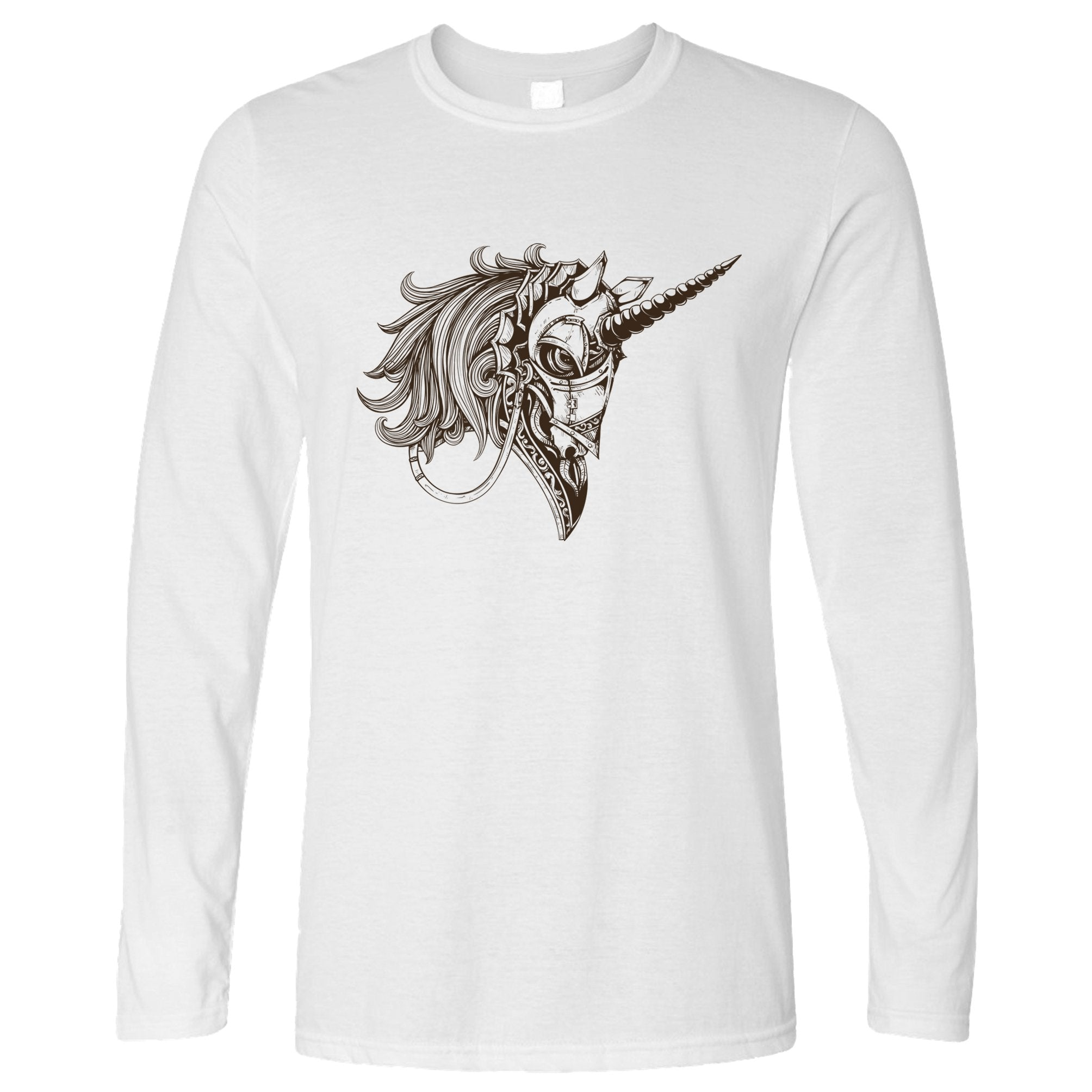 Gothic Art Long Sleeve Armoured Unicorn Graphic T-Shirt