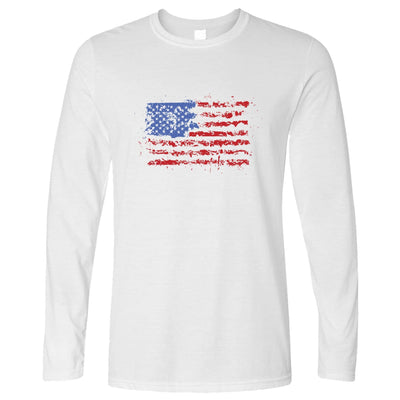 American Long Sleeve Paint Splatter US Flag T-Shirt