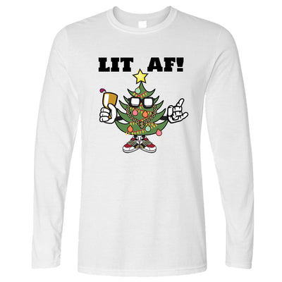 Christmas Long Sleeve Lit AF Festive Tree Light Decoration T-Shirt