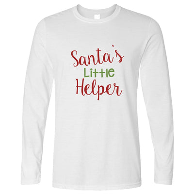 Christmas Long Sleeve Santa's Little Helper Slogan T-Shirt