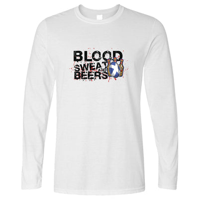 Scotland Rugby Supporter Long Sleeve Blood, Sweat And Beer T-Shirt