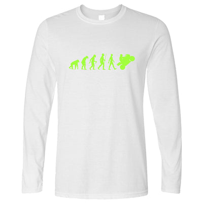 Motorcycle Long Sleeve Neon Green Evolution of a Biker T-Shirt