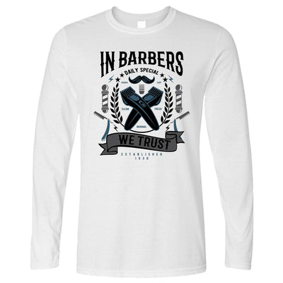 Novelty Long Sleeve In Barbers We Trust Logo T-Shirt