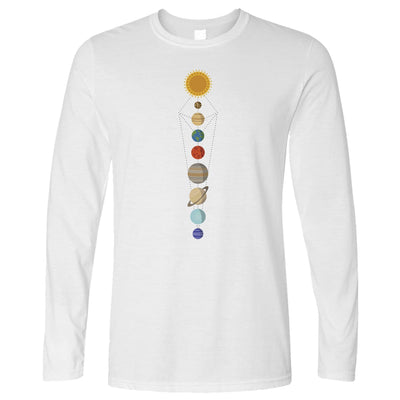 Cool Nerdy Long Sleeve Geometric Solar System Space Art T-Shirt