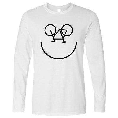 Cycling Long Sleeve Bicycle Happy Smiling Face Logo T-Shirt