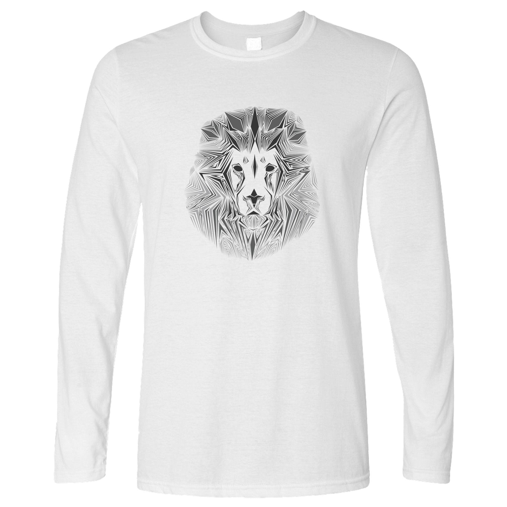 Wildlife Art Long Sleeve Geometric Lion Graphic T-Shirt