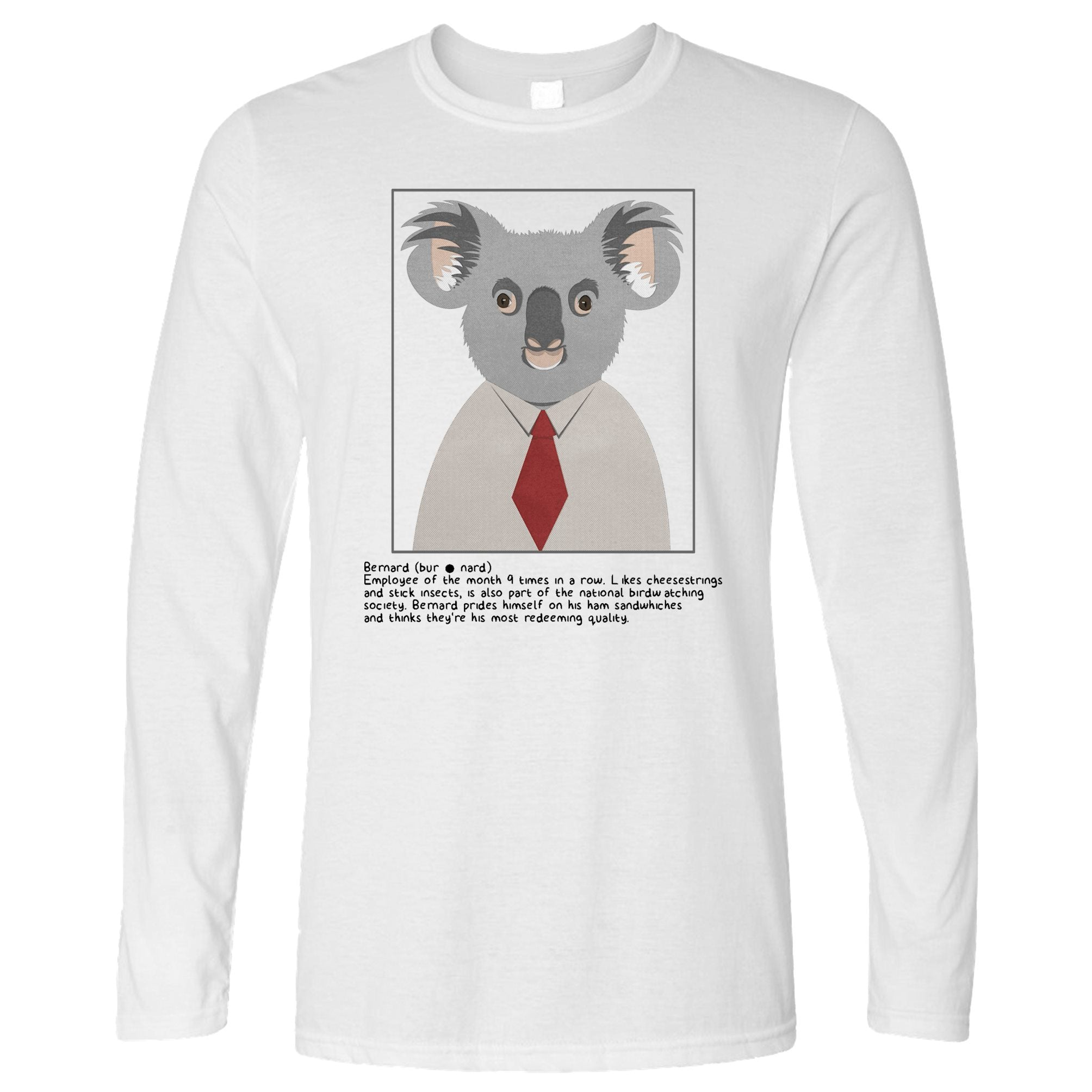 Novelty Animal Long Sleeve Bernard the Koala Caption T-Shirt