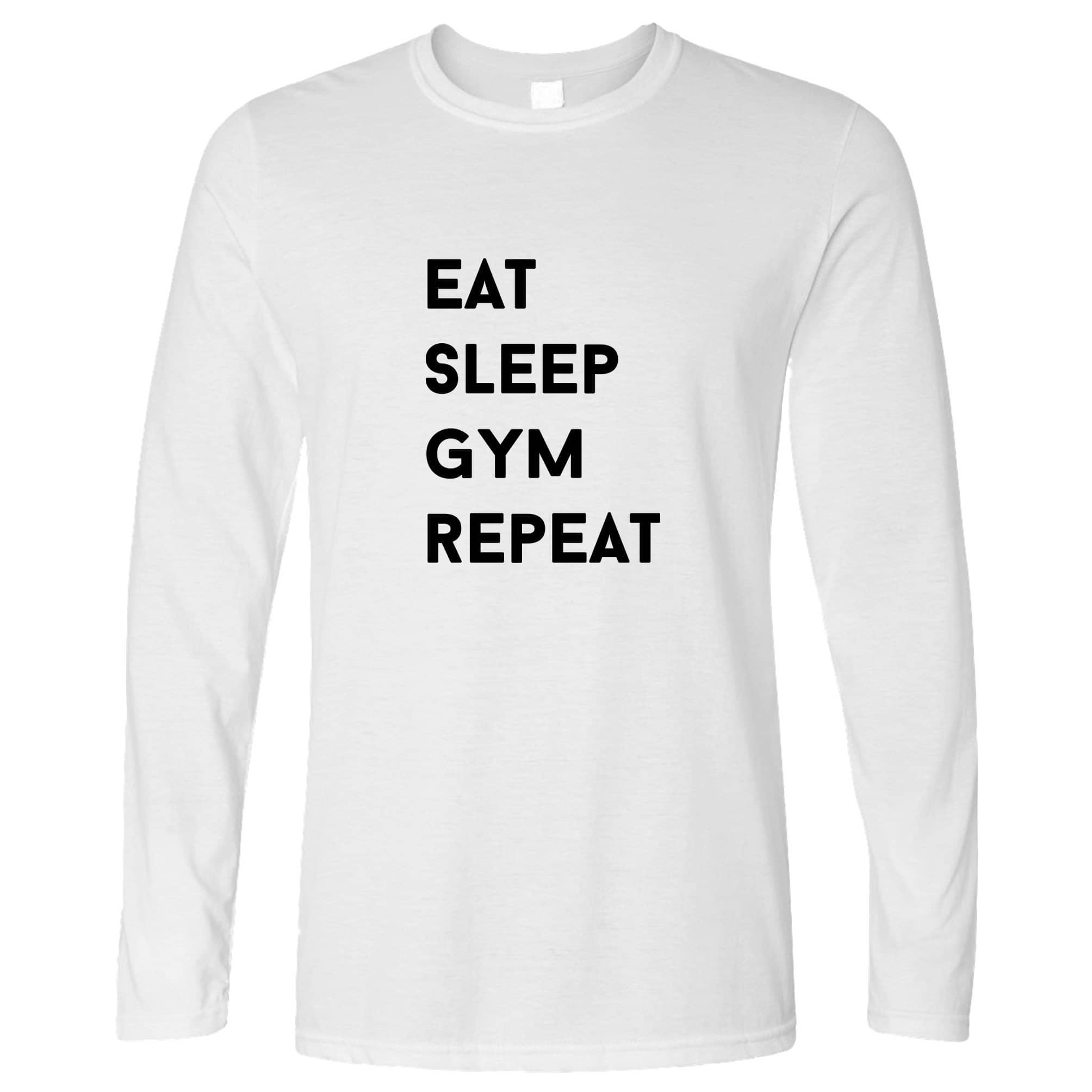 Novelty Long Sleeve Eat, Sleep, Gym, Repeat Slogan T-Shirt