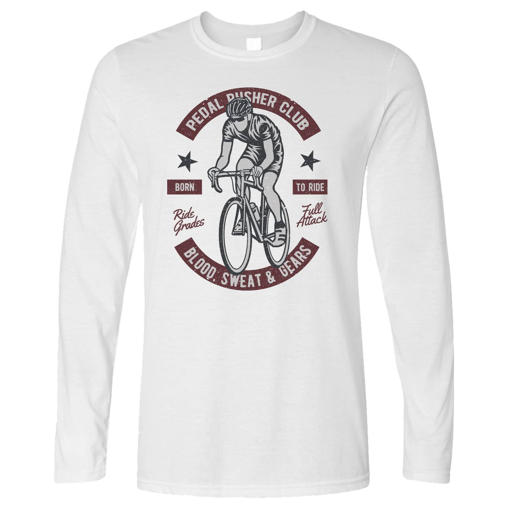 Cycling Long Sleeve Pedal Pushers Cyclist Biker Club T-Shirt