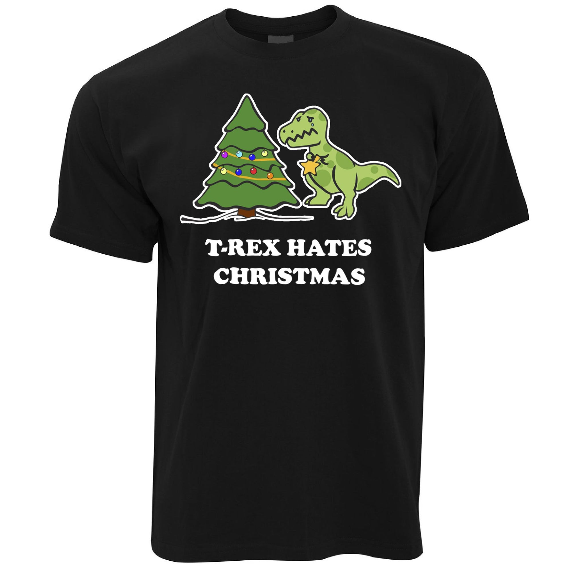 Novelty Xmas T Shirt T-Rex Hates Christmas Joke
