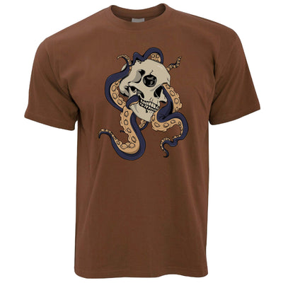 Mens Tattoo Street Art T Shirt Skull And Octopus Graphic Tee