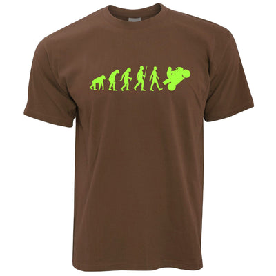 Motorcycle T Shirt Neon Green Evolution of a Biker