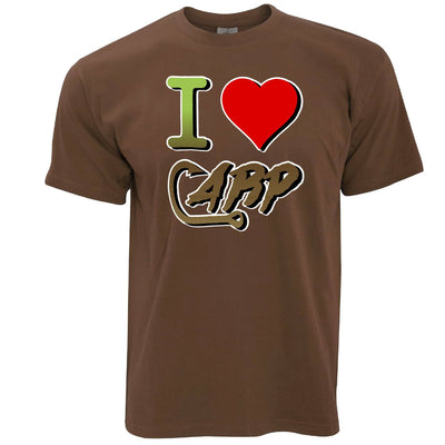 Fishing T Shirt I Love Carp Slogan Heart