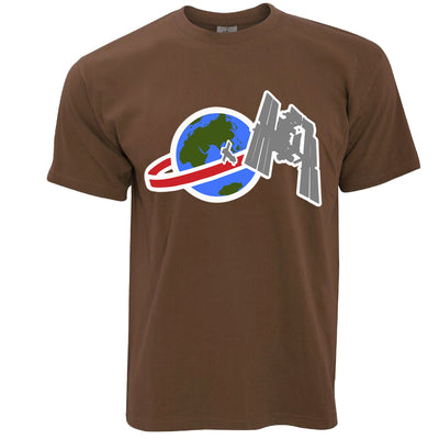 Retro Space T Shirt Satellite Over Earth