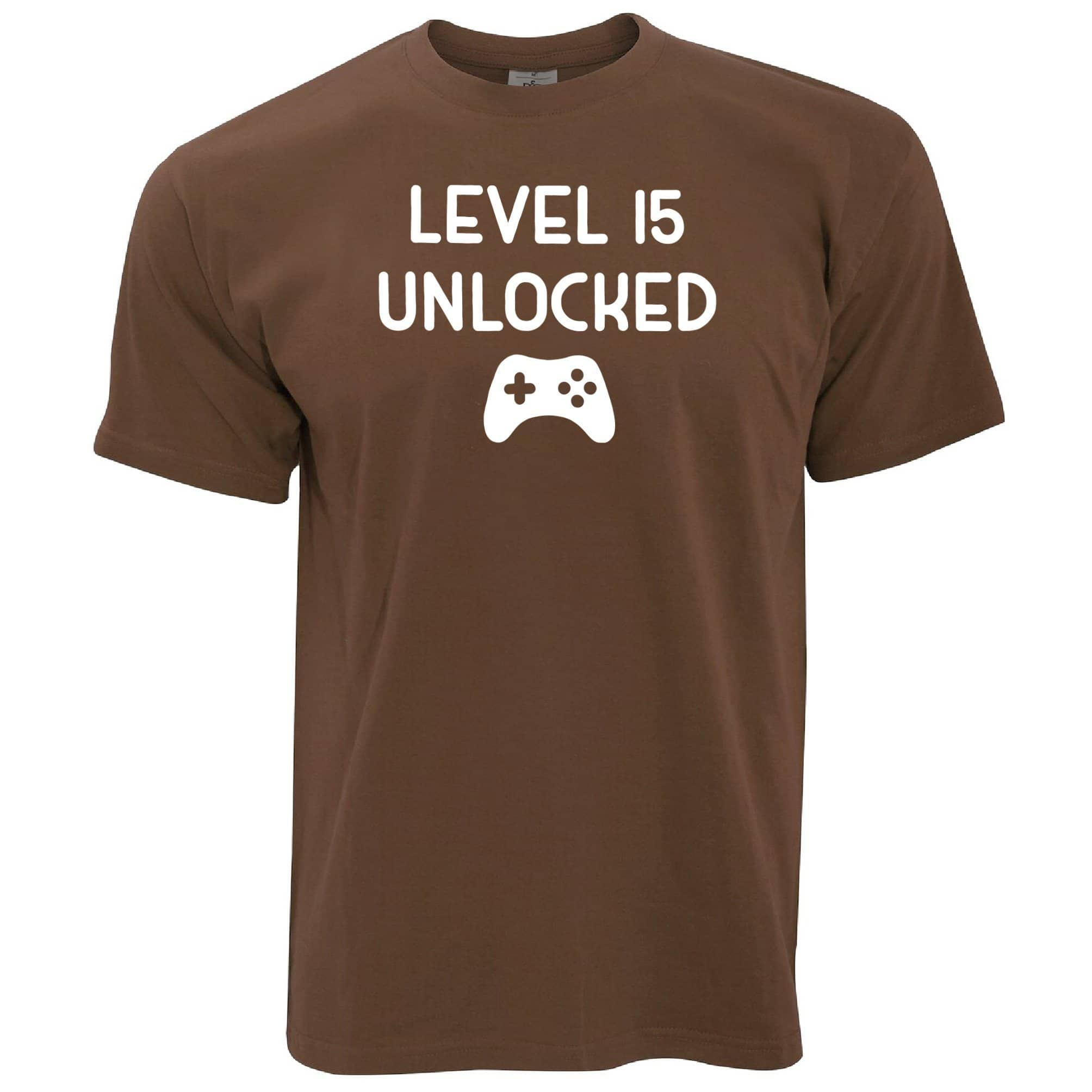 15th Birthday Gamer T Shirt Level 15 Unlocked Slogan