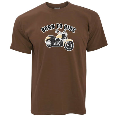 Bikers T-Shirt with Born to Ride Slogan in Brown