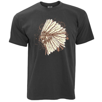 Native American Art T Shirt Chieftain Headress Skull