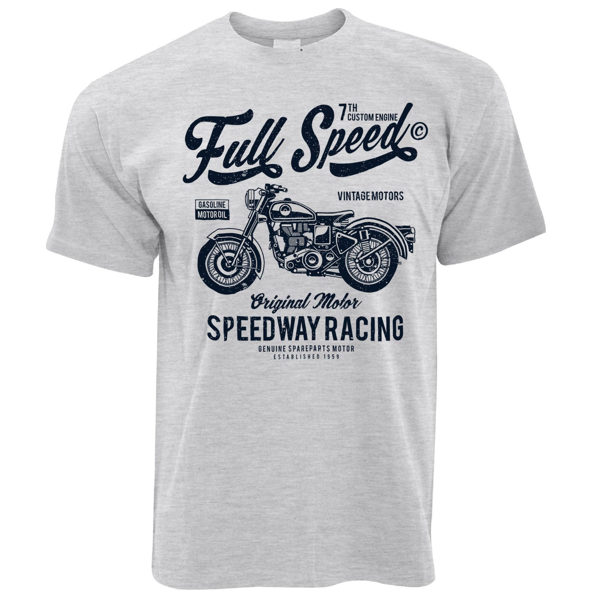 Mens Retro Biker T Shirt Full Speed Speedway Racing Art Tee