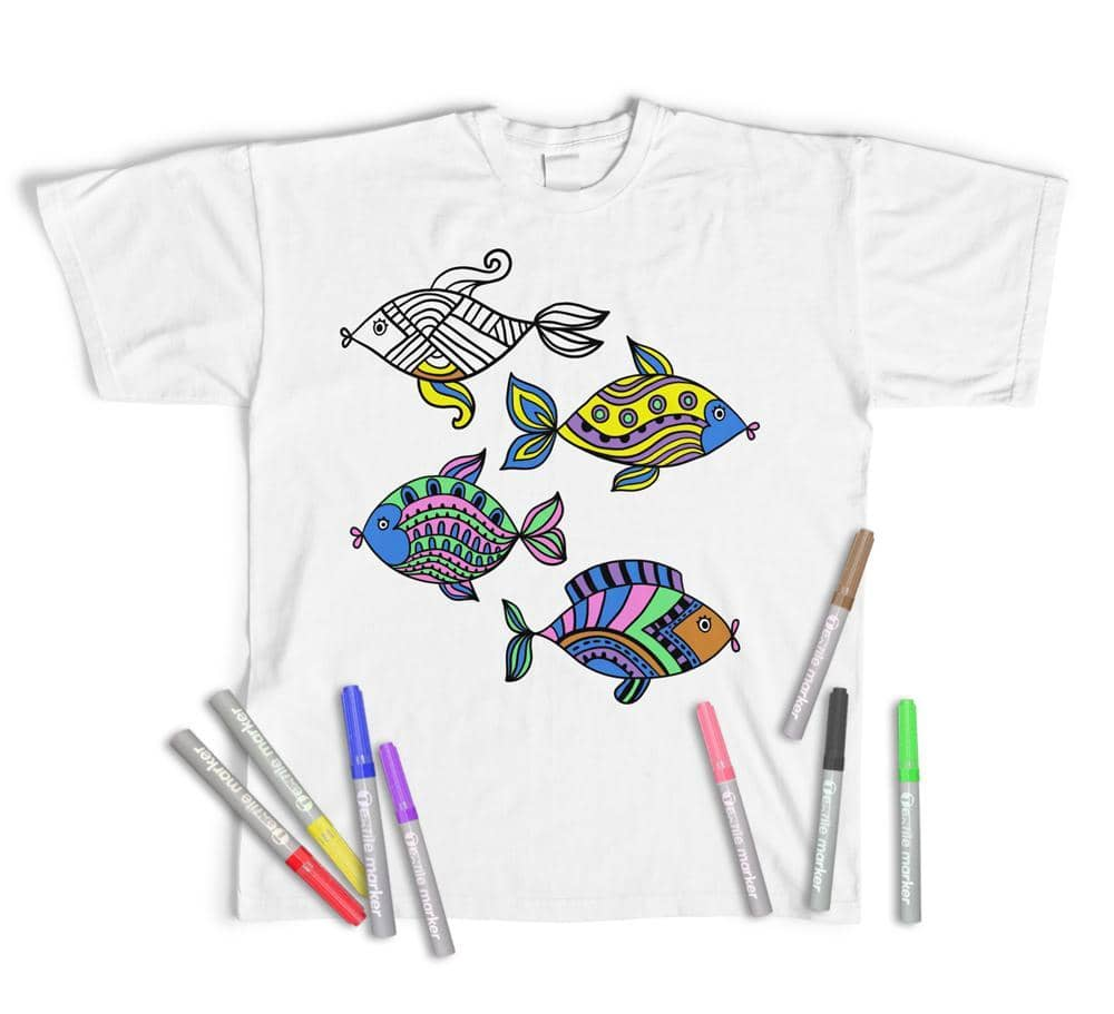 Adult Colouring T-Shirt Cute Fish, Colour yourself (Pens Included)