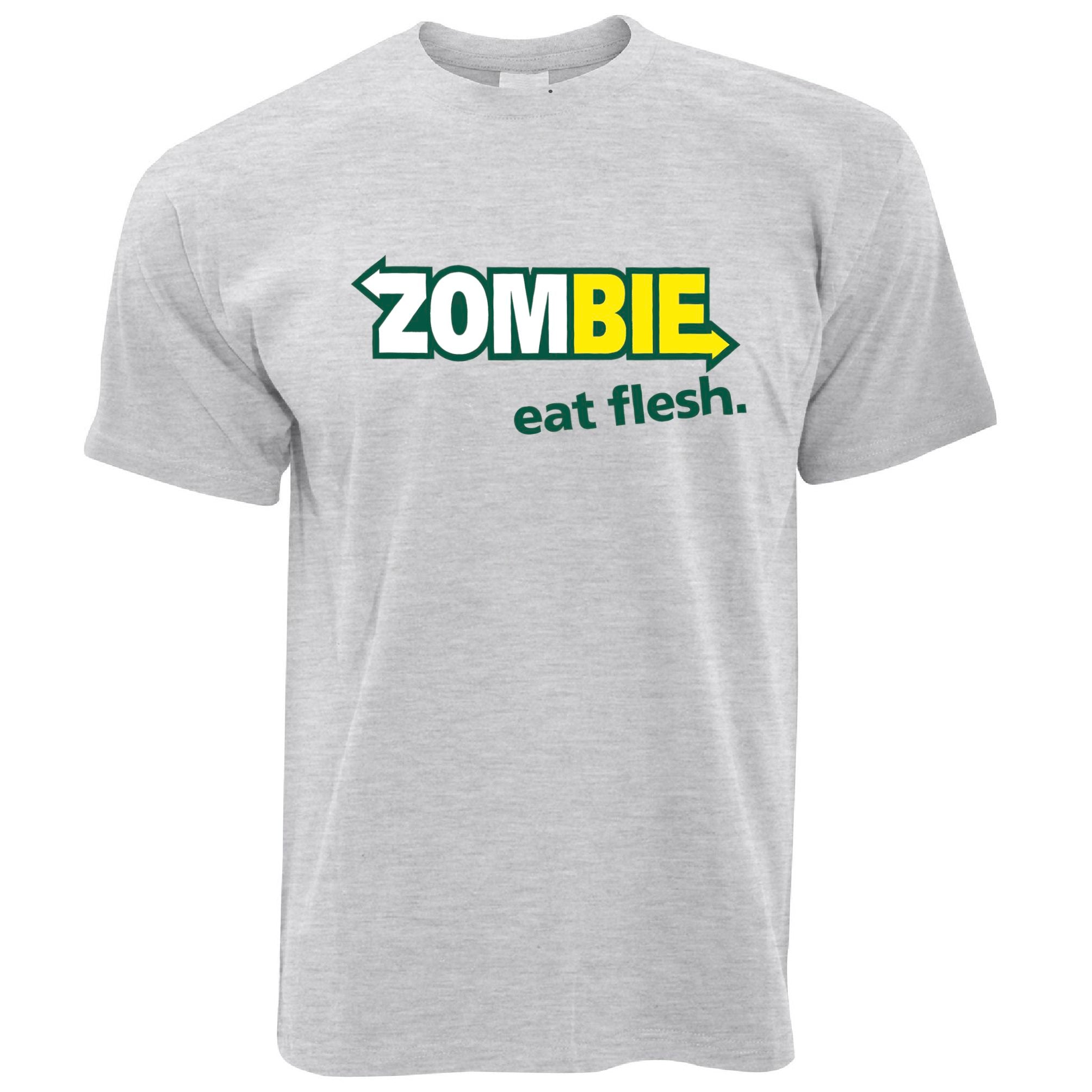 Mens Zombie T Shirt Eat Fresh Flesh Slogan Parody Tee