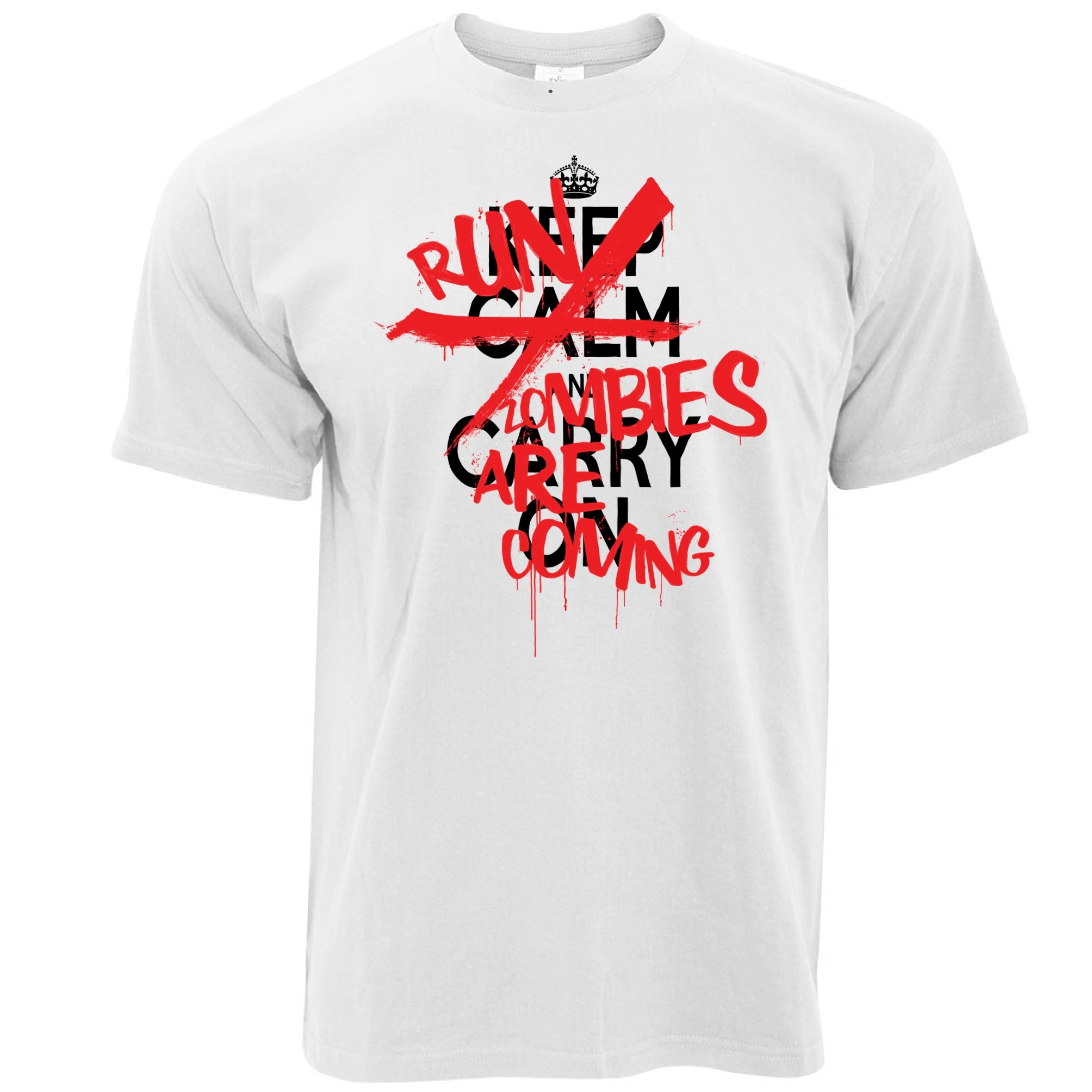 Mens Keep Calm & Carry On | Run, Zombies Are Coming T Shirt Tee