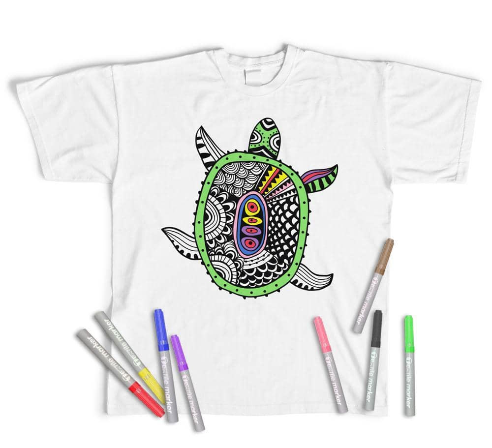Adult Colouring T-Shirt Cute Turtle, Colour yourself (Pens Included)