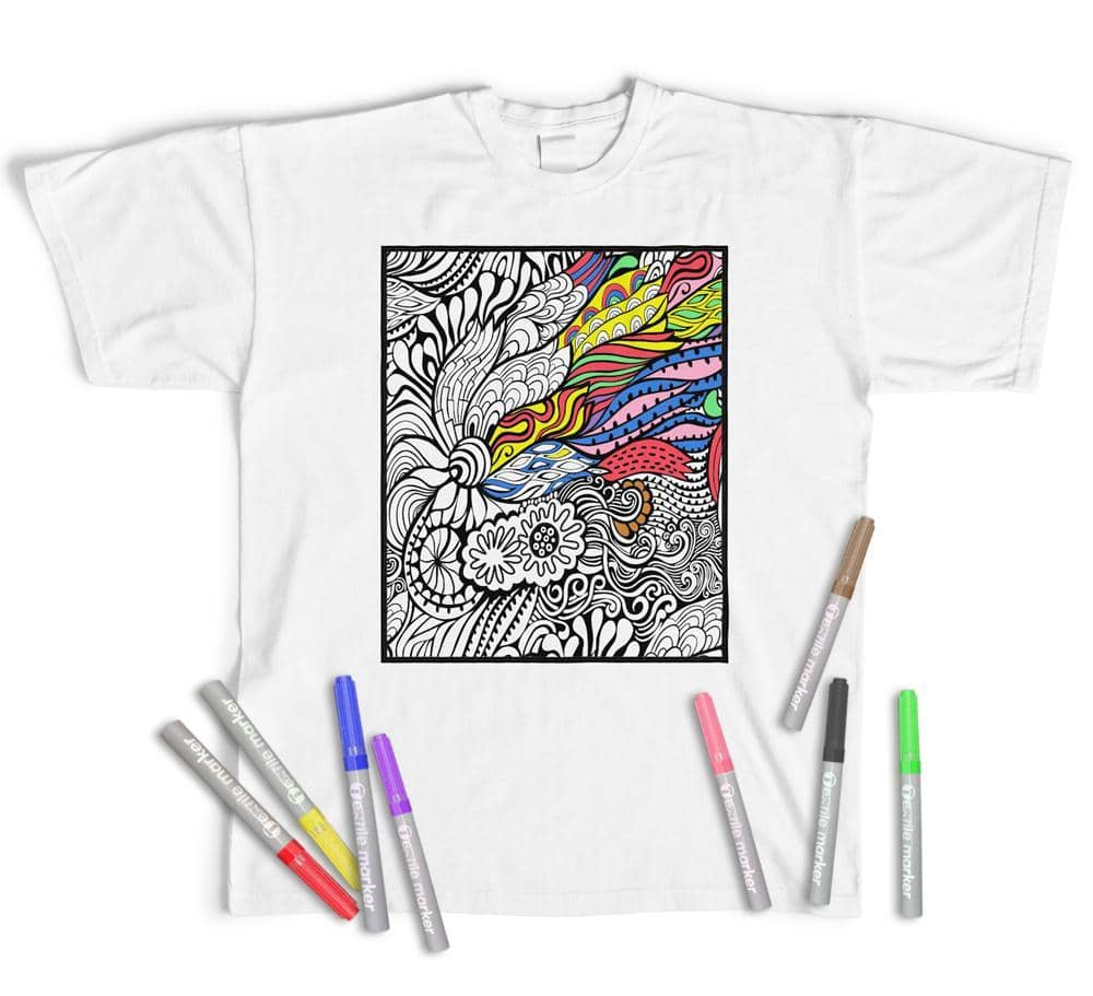 Adult Colouring T-Shirt Floral Abstract, Colour yourself (With Pens)