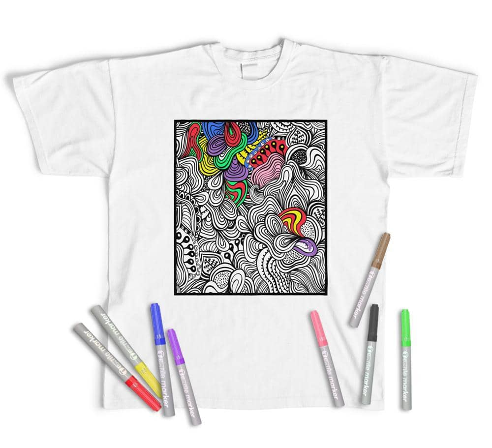 Adult Colouring T-Shirt Abstract Pattern, Colour yourself (With Pens)