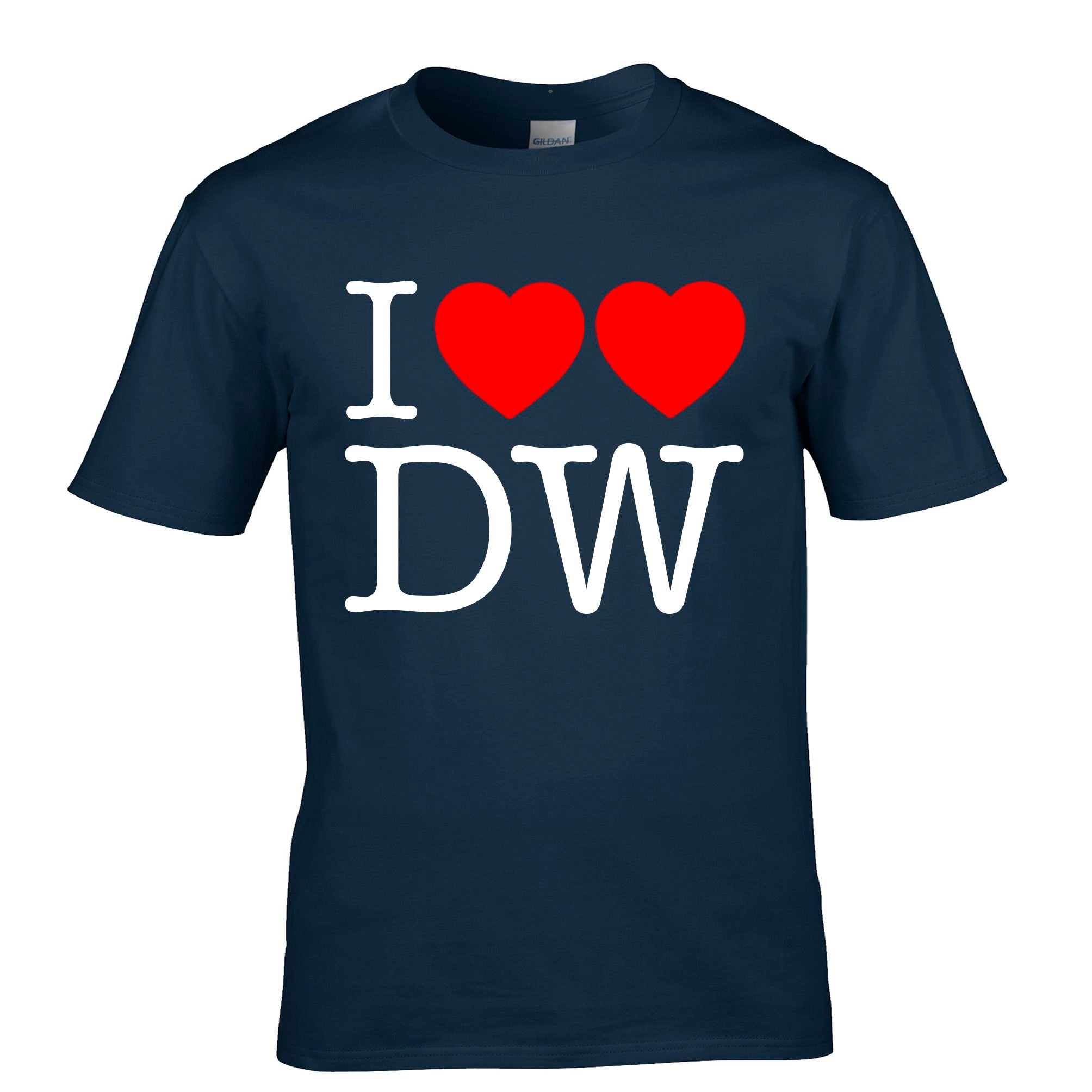 Mens I Love DW T Shirt Two Hearts Tee