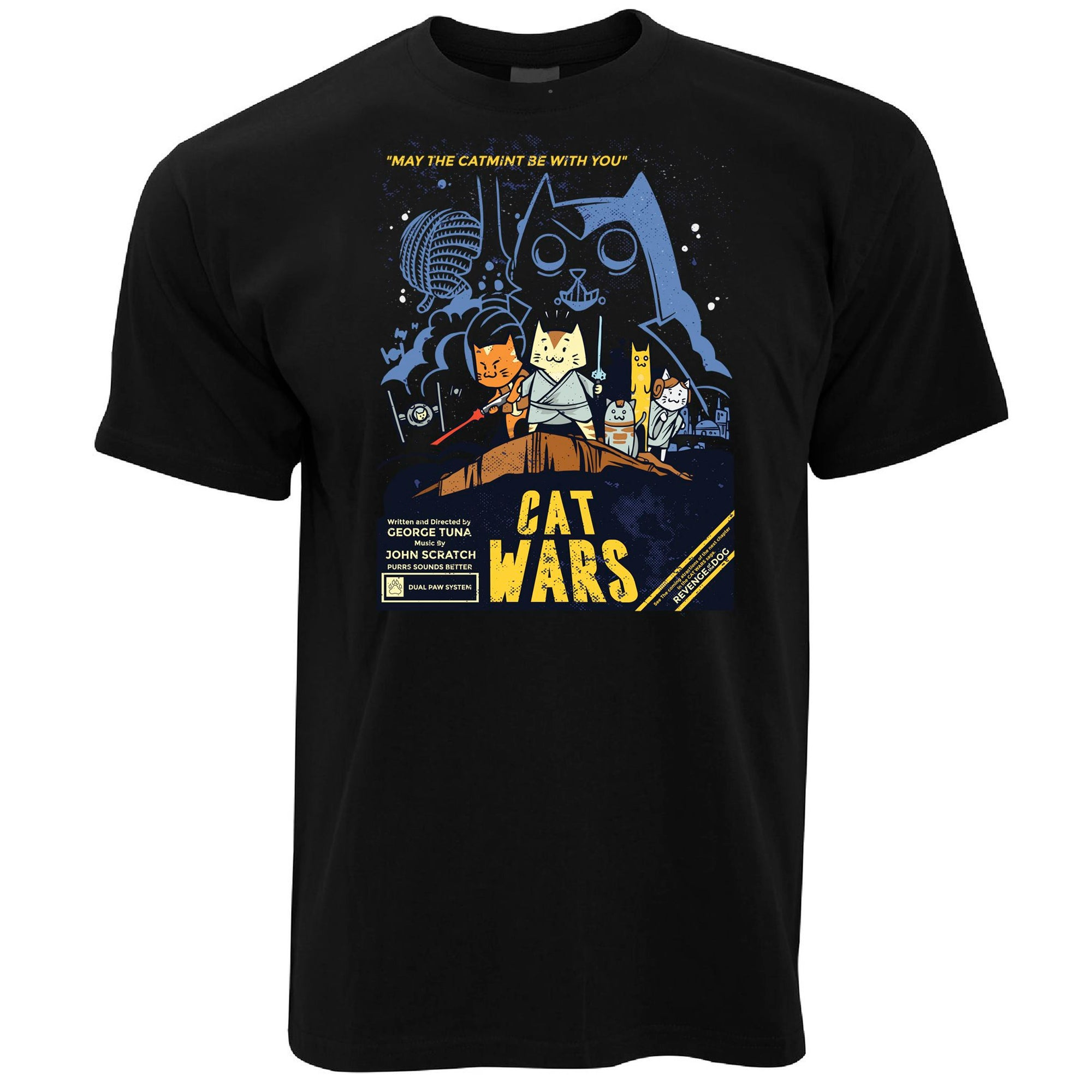Mens Cat Wars T Shirt Funny Star Parody Tee