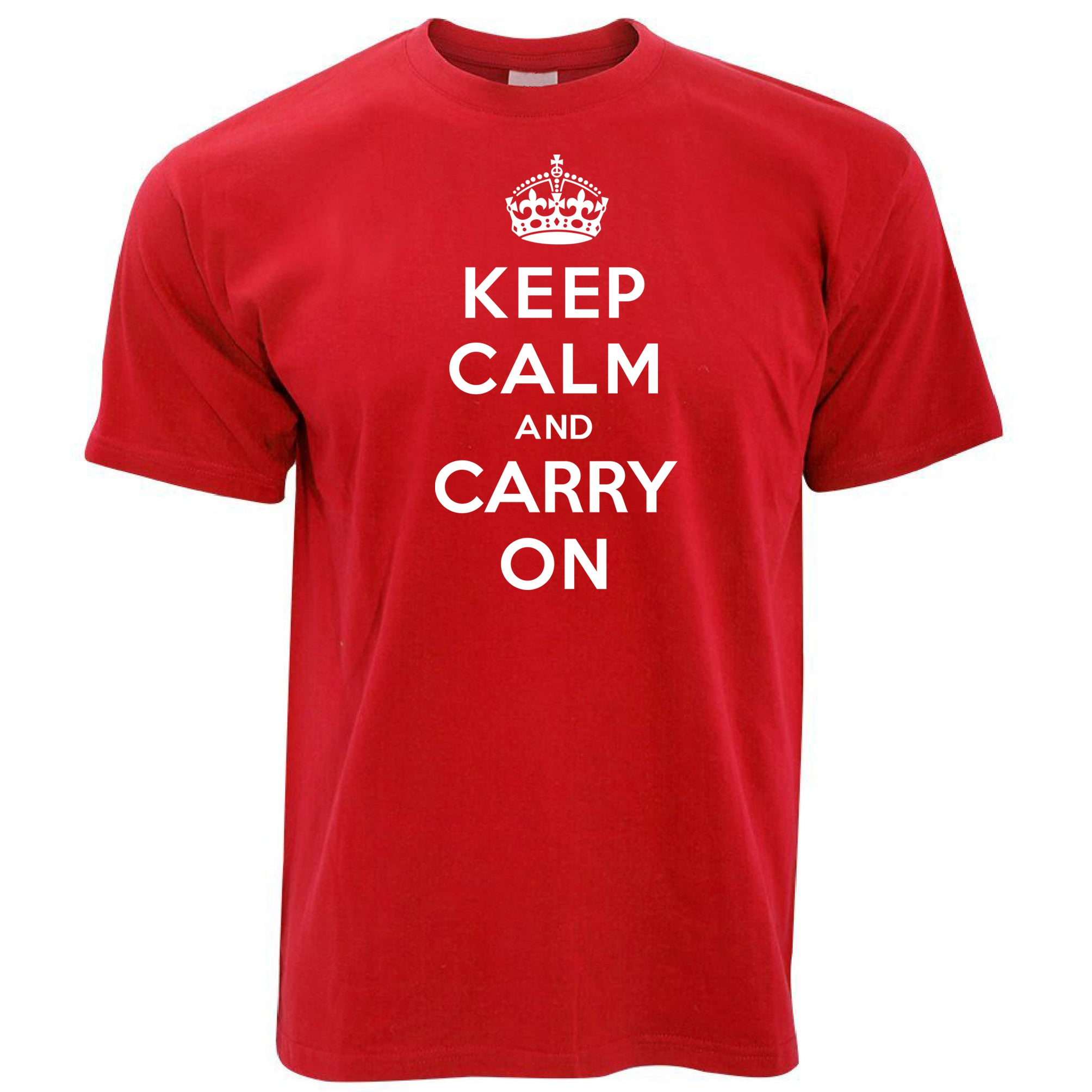 Mens Keep Calm and Carry On T Shirt Tee
