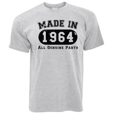 Birthday T Shirt Made in 1964 All Genuine Parts