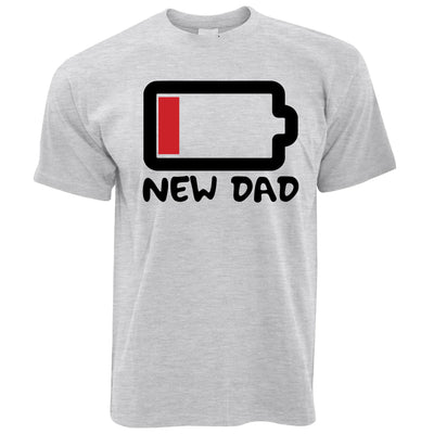 New Dad T Shirt Low Battery Remaining Novelty Joke