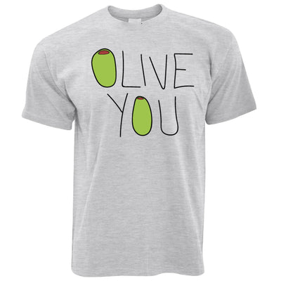 Valentines Day T Shirt Olive You Slogan