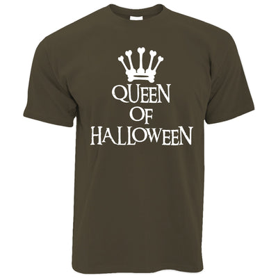 Novelty Spooky T Shirt Queen Of Halloween Crown