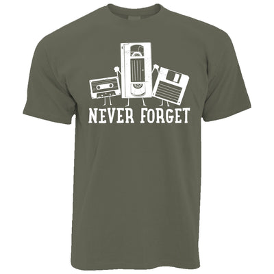 Mens Retro T Shirt Never Forget VHS and Floppy Discs Tee