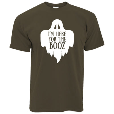 Novelty Halloween T Shirt I'm Here For The Booz Joke