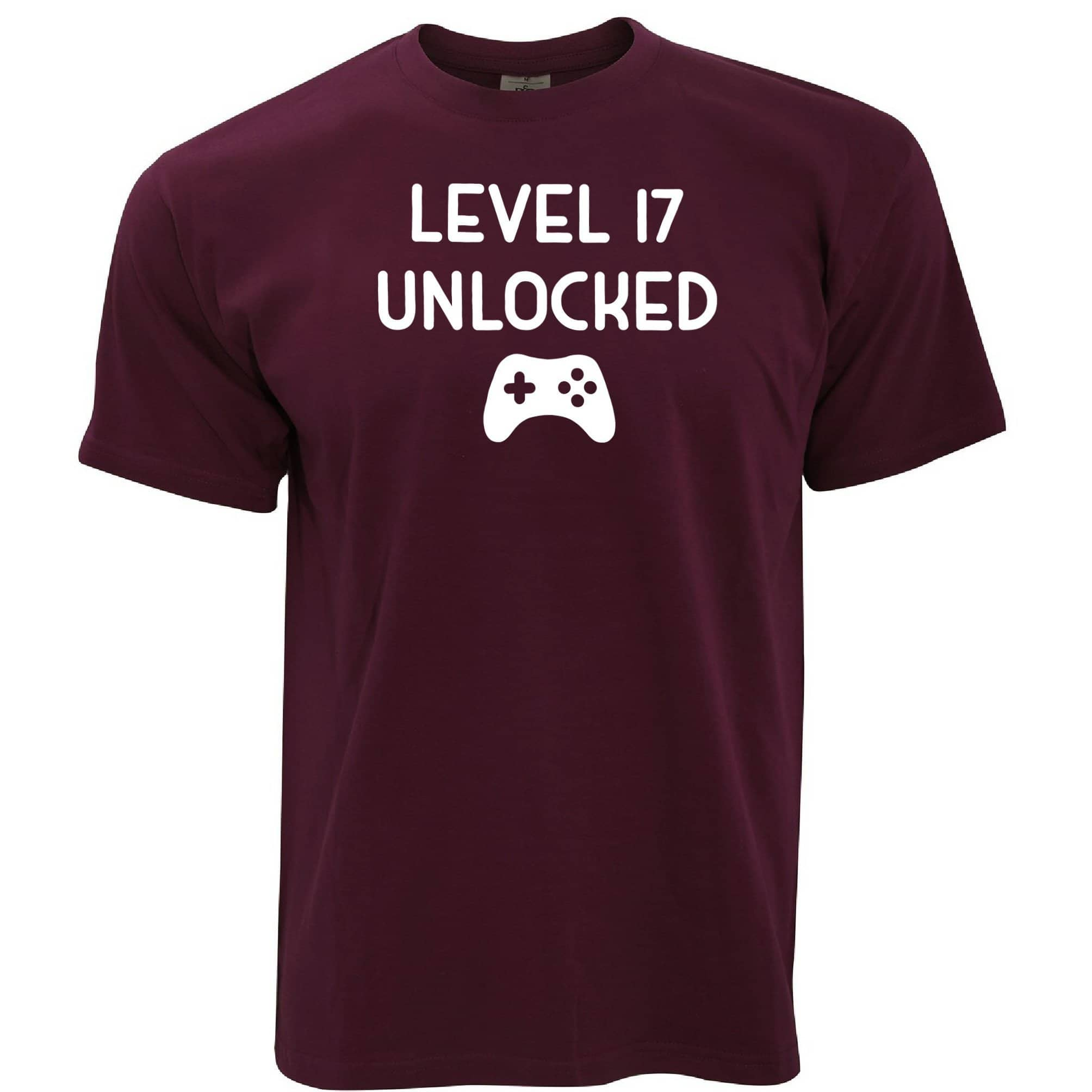 17th Birthday Gamer T Shirt Level 17 Unlocked Slogan