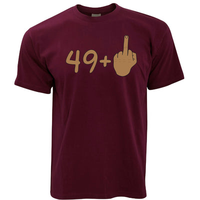 Rude 50th Birthday T Shirt Tanned Middle Finger