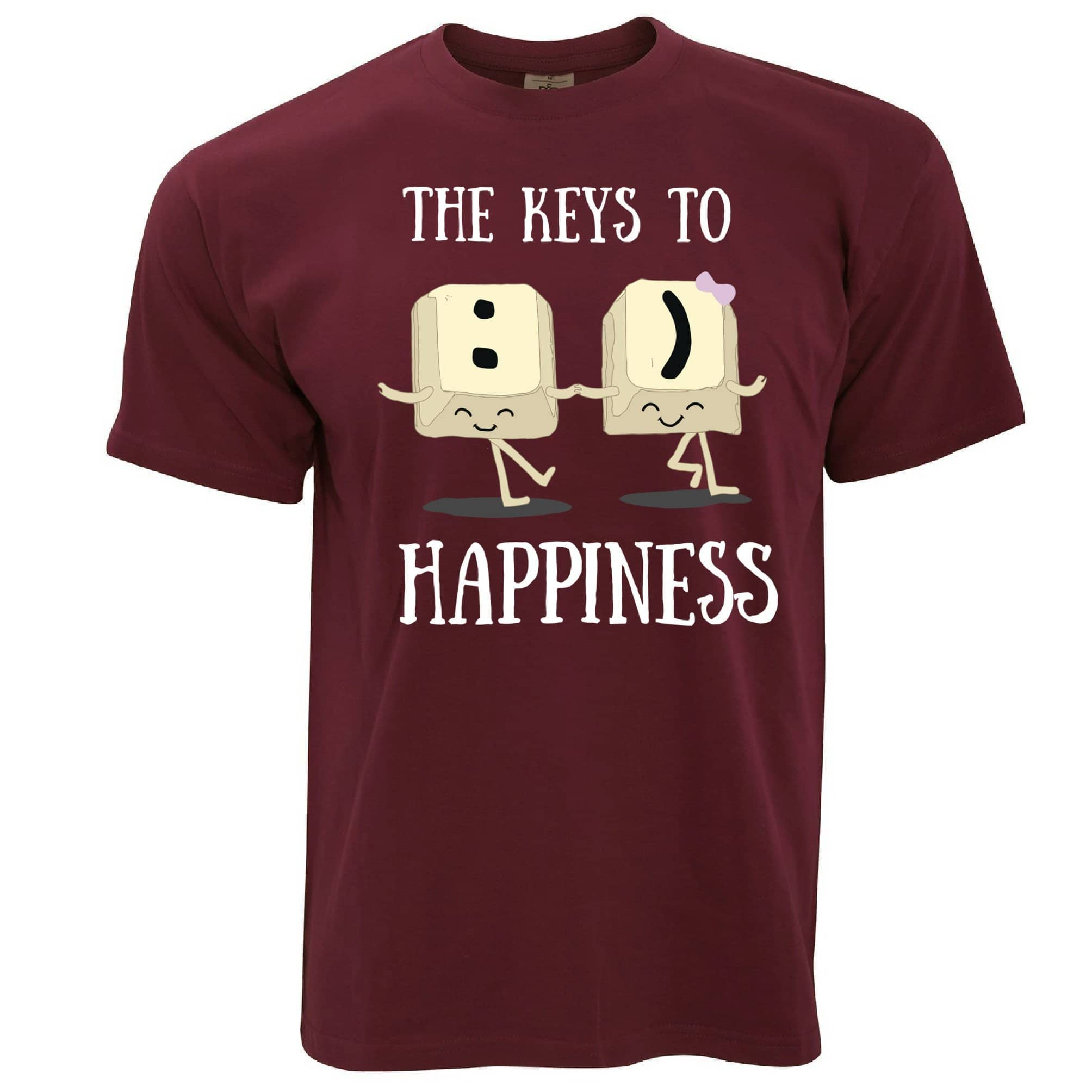 Novelty Computer T Shirt The Keys To Happiness :) Pun