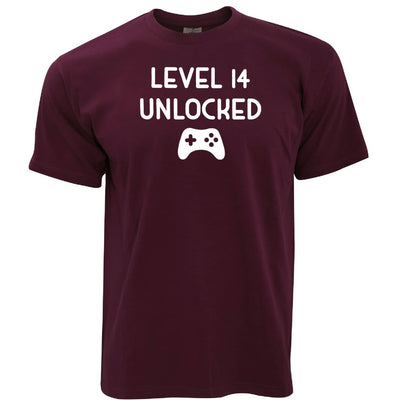 14th Birthday Gamer T Shirt Level 14 Unlocked Slogan